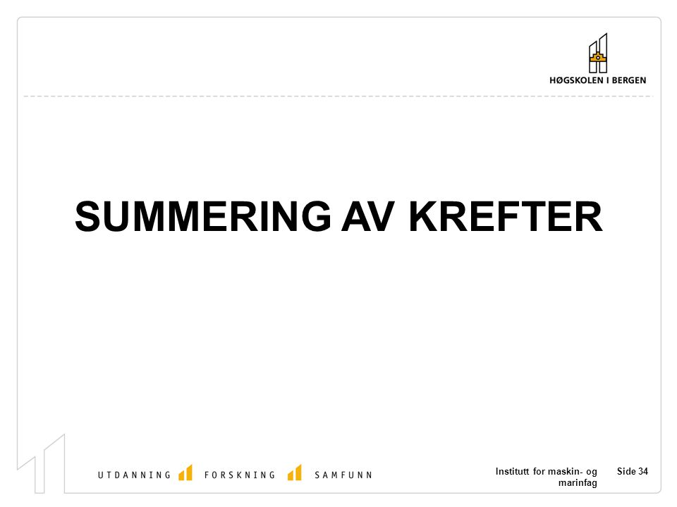 SUMMERING AV KREFTER Institutt for maskin- og marinfag