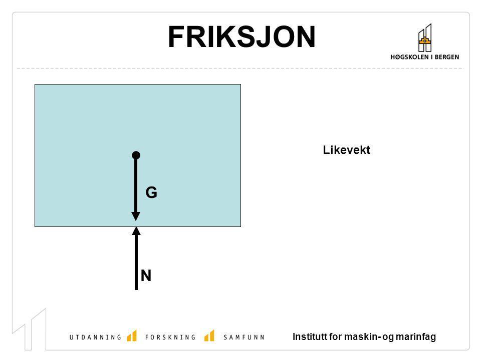 FRIKSJON Likevekt G N Institutt for maskin- og marinfag