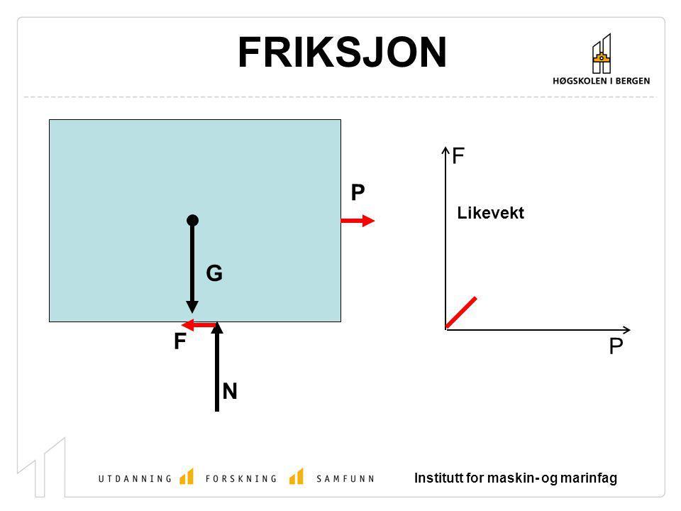 FRIKSJON F P Likevekt G F P N Institutt for maskin- og marinfag