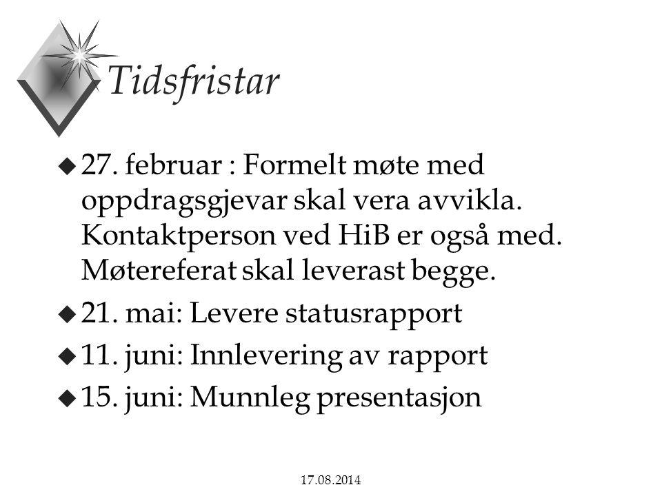 Tidsfristar 27. februar : Formelt møte med oppdragsgjevar skal vera avvikla. Kontaktperson ved HiB er også med. Møtereferat skal leverast begge.