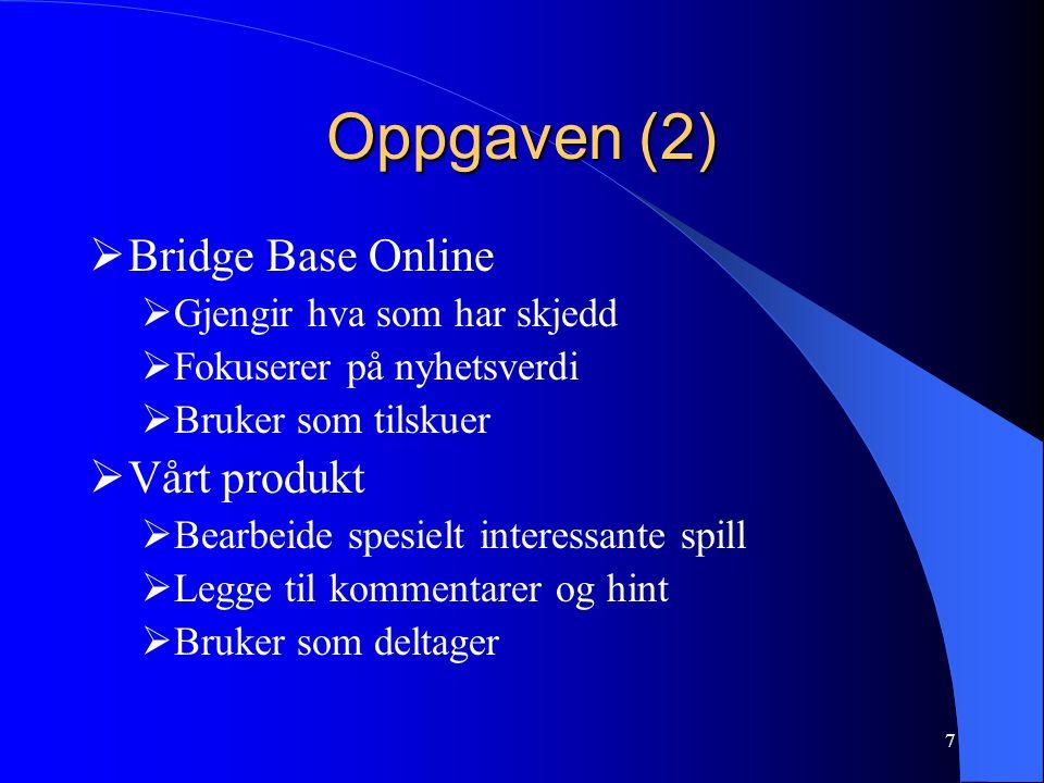 Oppgaven (2) Bridge Base Online Vårt produkt