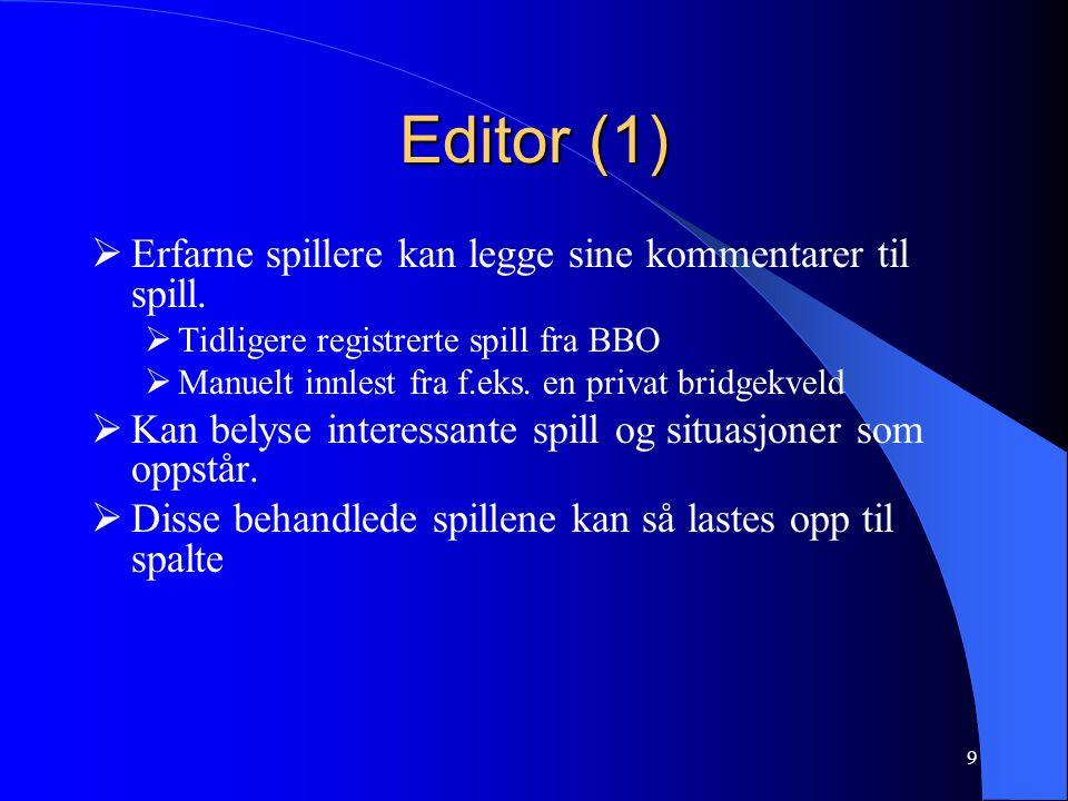 Editor (1) Erfarne spillere kan legge sine kommentarer til spill.