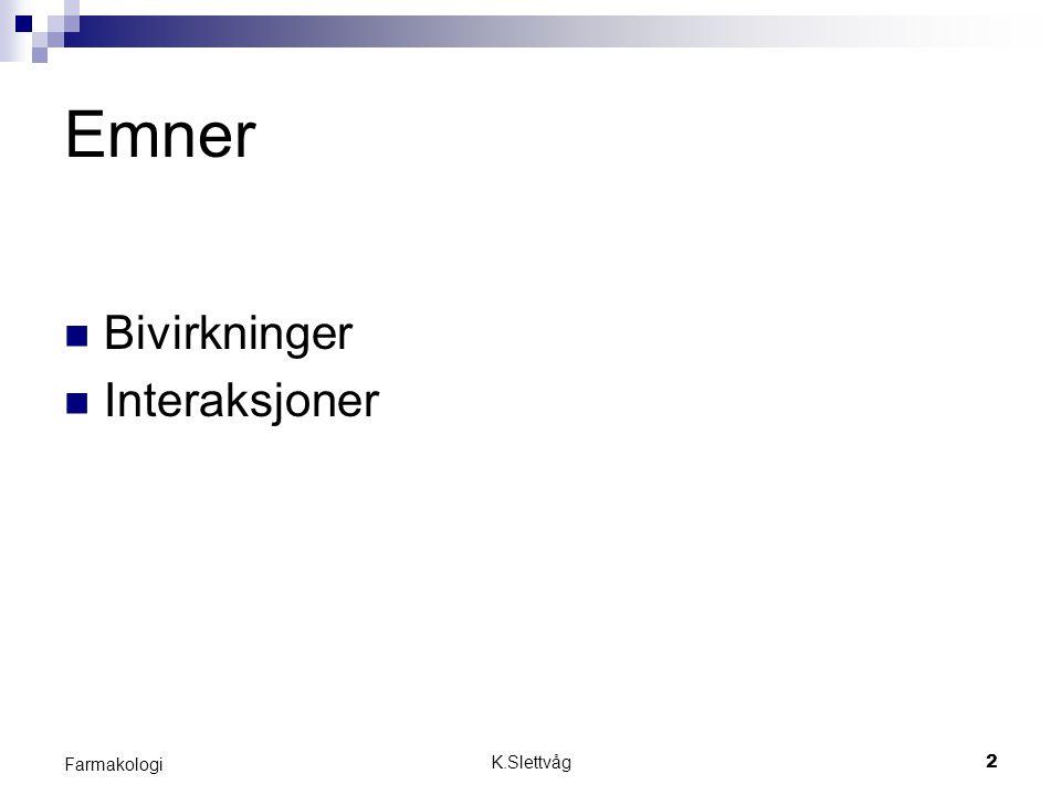 Emner Bivirkninger Interaksjoner Farmakologi K.Slettvåg