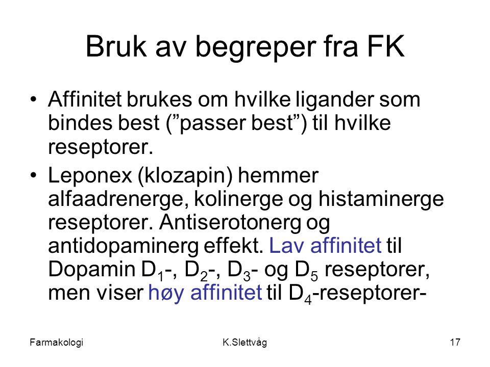 Bruk av begreper fra FK Affinitet brukes om hvilke ligander som bindes best ( passer best ) til hvilke reseptorer.