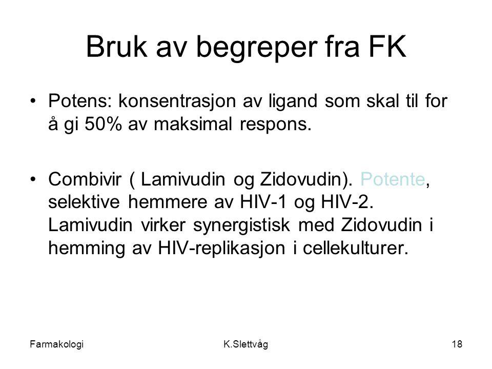Bruk av begreper fra FK Potens: konsentrasjon av ligand som skal til for å gi 50% av maksimal respons.