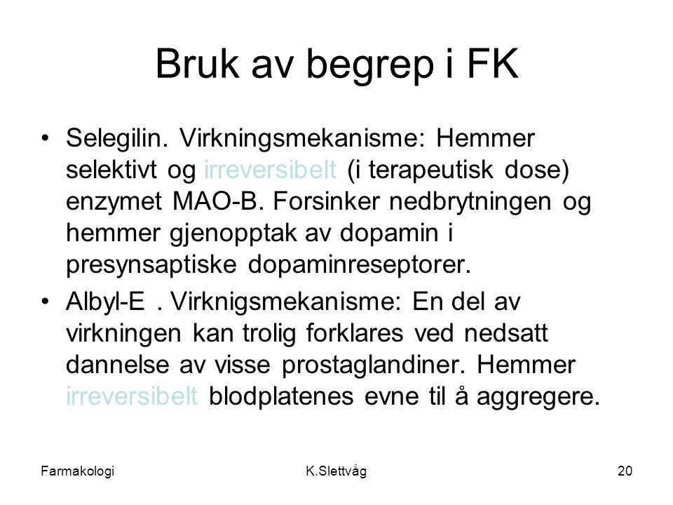 Bruk av begrep i FK