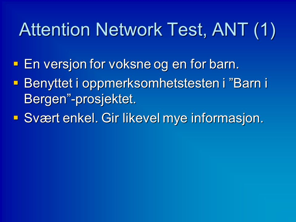 Attention Network Test, ANT (1)