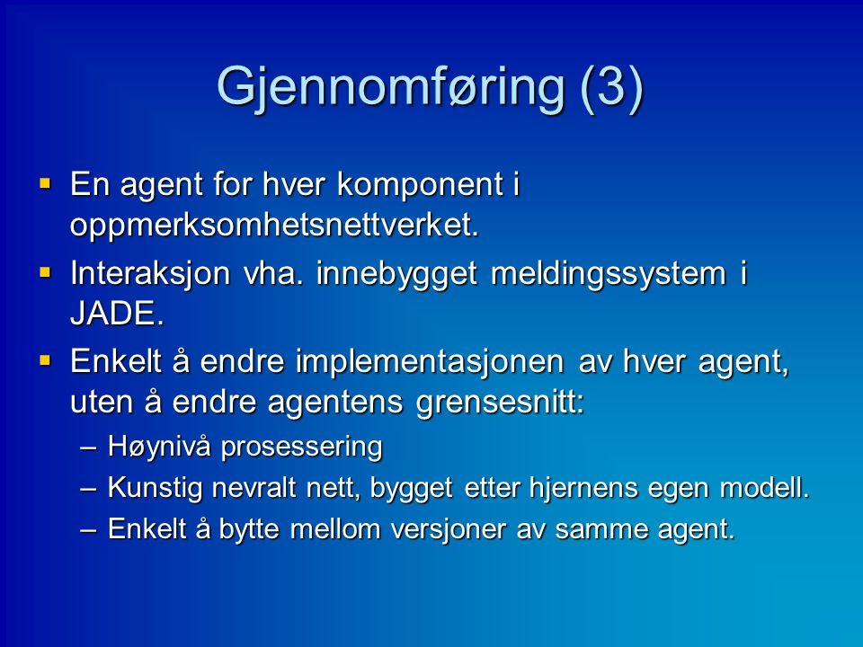 Gjennomføring (3) En agent for hver komponent i oppmerksomhetsnettverket. Interaksjon vha. innebygget meldingssystem i JADE.