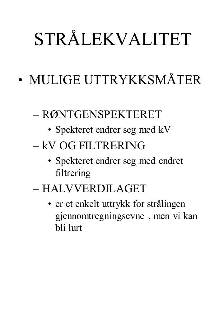 STRÅLEKVALITET MULIGE UTTRYKKSMÅTER RØNTGENSPEKTERET kV OG FILTRERING