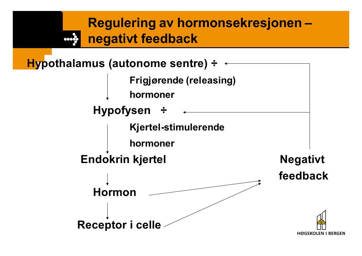 Regulering av hormonsekresjonen – negativt feedback