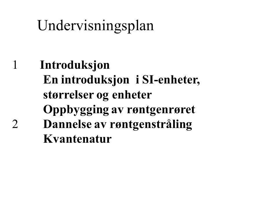 Undervisningsplan 1 Introduksjon En introduksjon i SI-enheter,