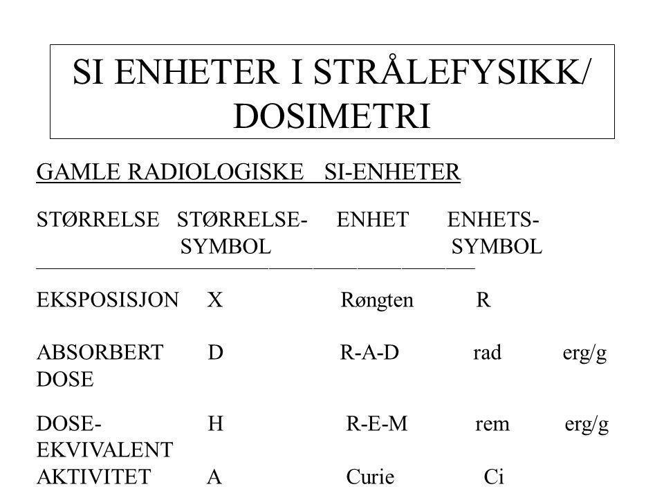 SI ENHETER I STRÅLEFYSIKK/ DOSIMETRI