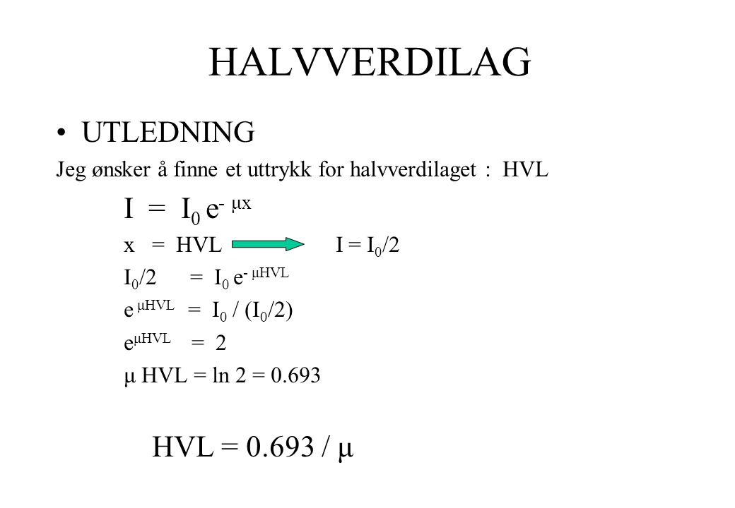 HALVVERDILAG UTLEDNING I = I0 e- μx