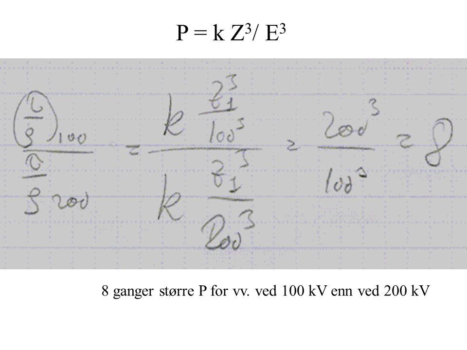 P = k Z3/ E3 8 ganger større P for vv. ved 100 kV enn ved 200 kV