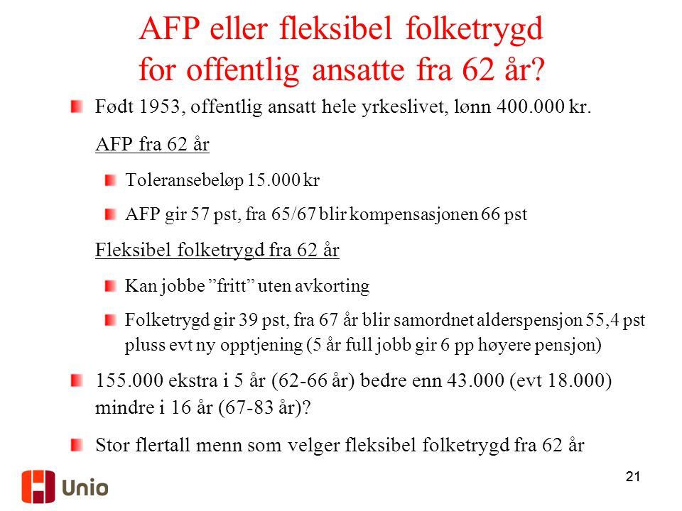 AFP eller fleksibel folketrygd for offentlig ansatte fra 62 år