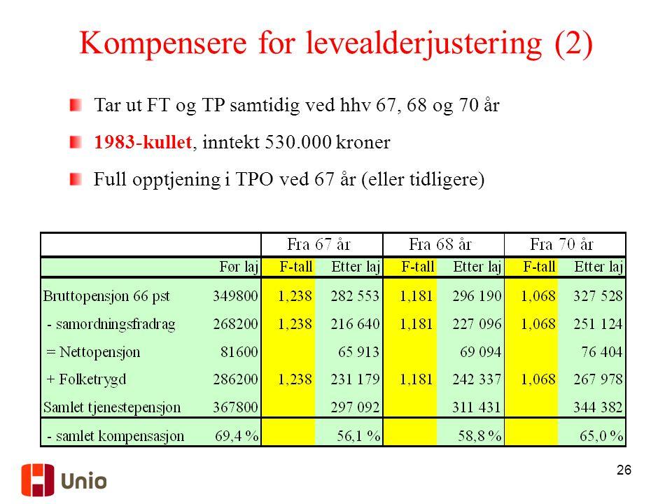 Kompensere for levealderjustering (2)