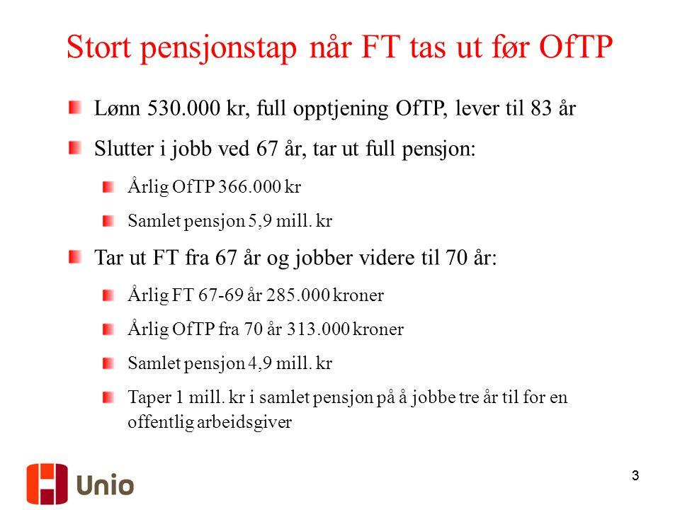 Stort pensjonstap når FT tas ut før OfTP