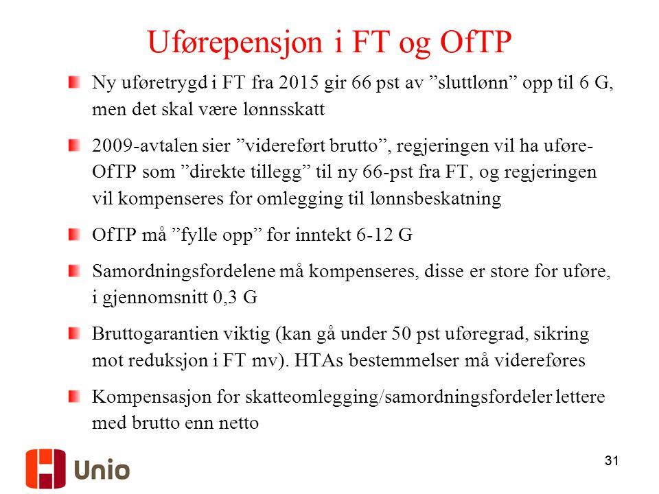 Uførepensjon i FT og OfTP