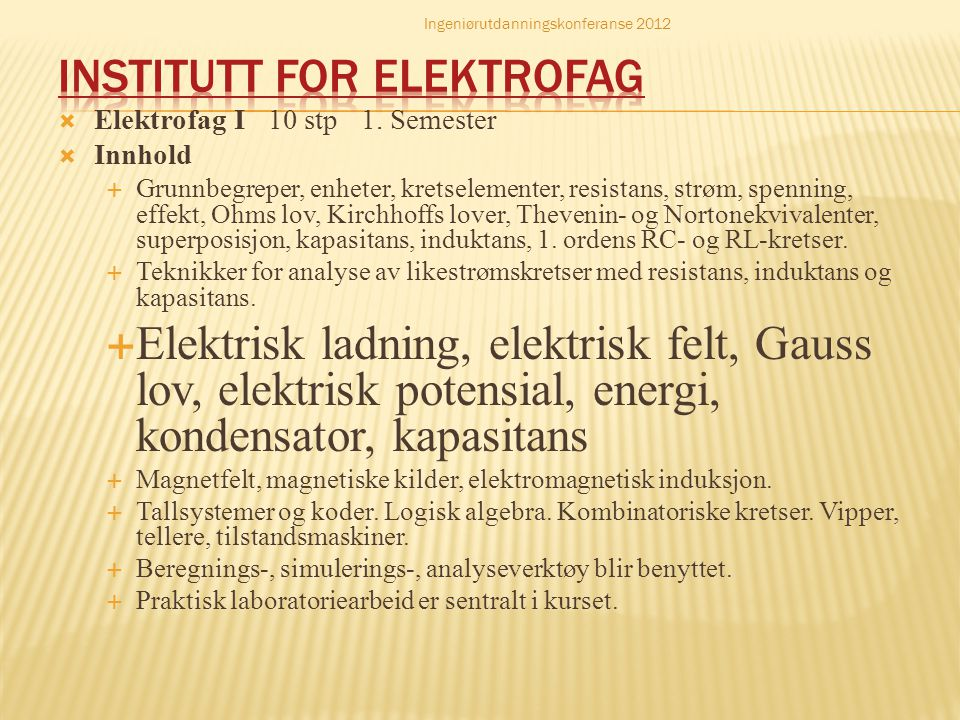 Institutt for elektrofag