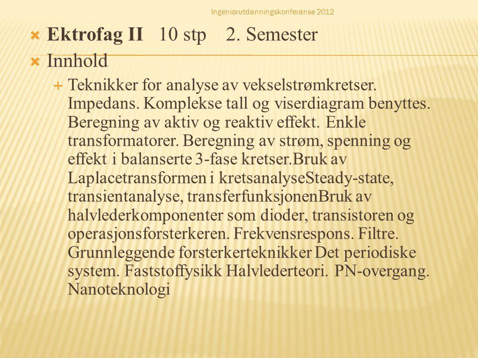 Ektrofag II 10 stp 2. Semester Innhold