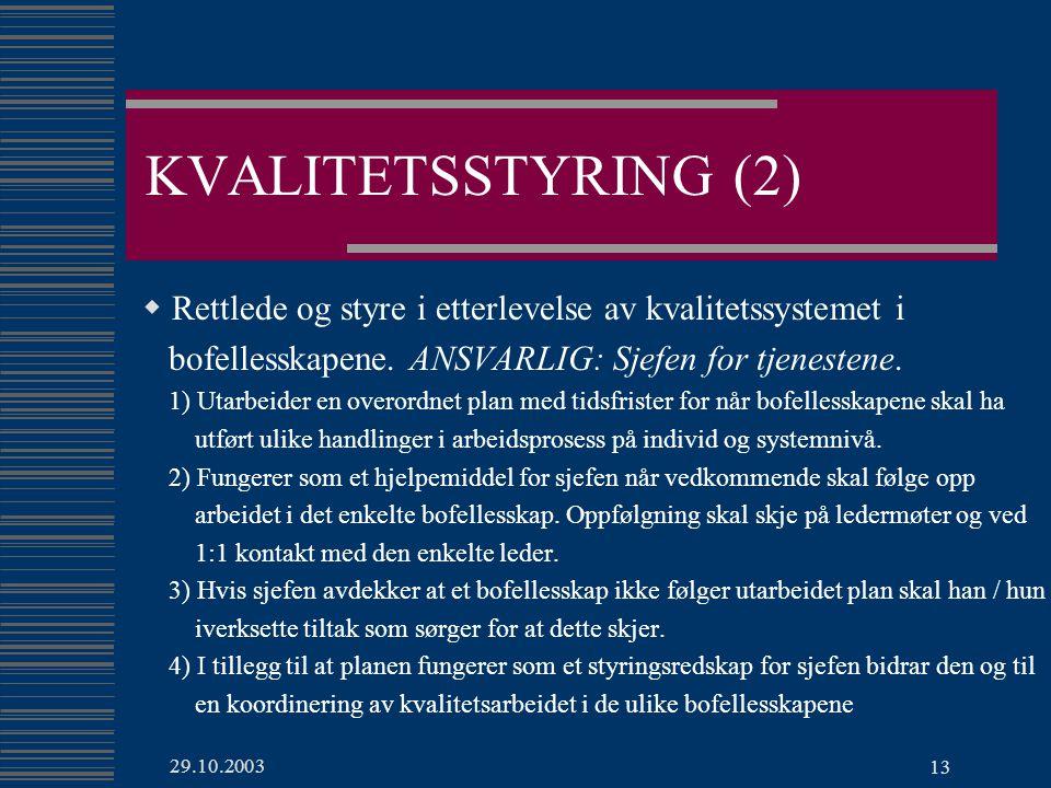 KVALITETSSTYRING (2) Rettlede og styre i etterlevelse av kvalitetssystemet i. bofellesskapene. ANSVARLIG: Sjefen for tjenestene.
