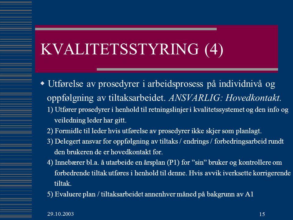 KVALITETSSTYRING (4) Utførelse av prosedyrer i arbeidsprosess på individnivå og. oppfølgning av tiltaksarbeidet. ANSVARLIG: Hovedkontakt.