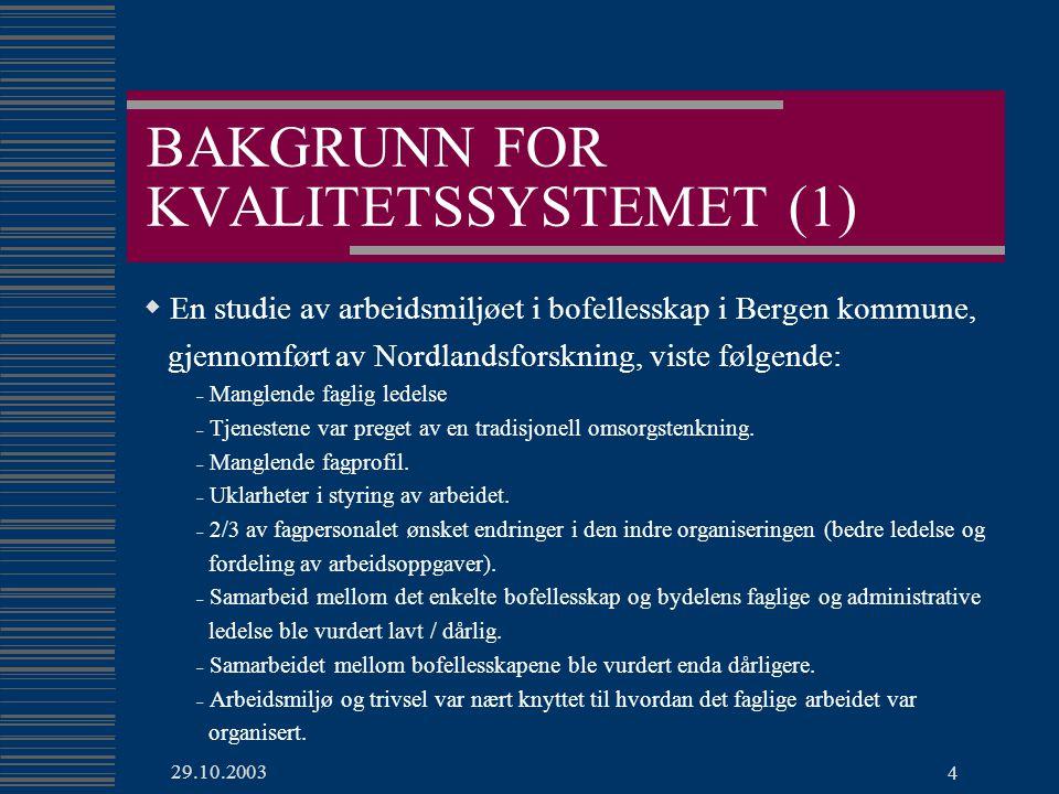 BAKGRUNN FOR KVALITETSSYSTEMET (1)
