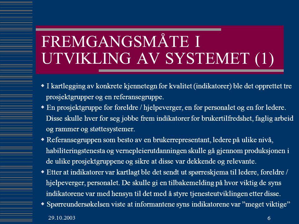 FREMGANGSMÅTE I UTVIKLING AV SYSTEMET (1)