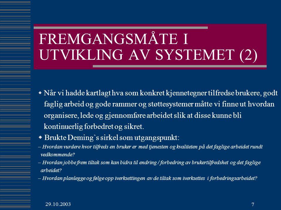 FREMGANGSMÅTE I UTVIKLING AV SYSTEMET (2)