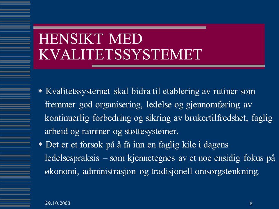 HENSIKT MED KVALITETSSYSTEMET