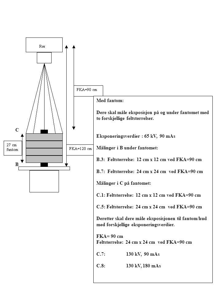 Med fantom: Dere skal måle eksposisjon på og under fantomet med to forskjellige feltstørrelser. Eksponeringsverdier : 65 kV, 90 mAs.