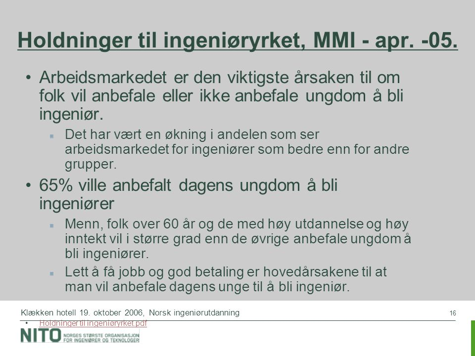 Holdninger til ingeniøryrket, MMI - apr. -05.