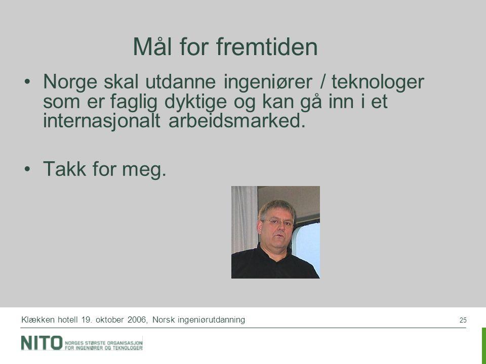 Mål for fremtiden Norge skal utdanne ingeniører / teknologer som er faglig dyktige og kan gå inn i et internasjonalt arbeidsmarked.