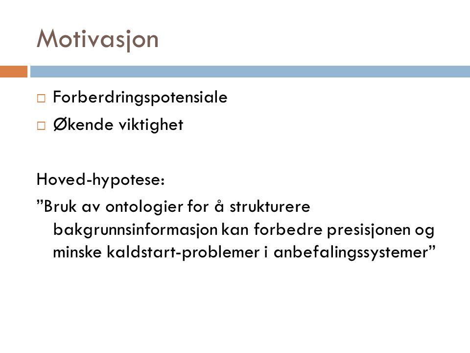 Motivasjon Forberdringspotensiale Økende viktighet Hoved-hypotese:
