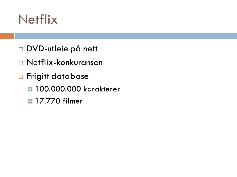 Netflix DVD-utleie på nett Netflix-konkuransen Frigitt database