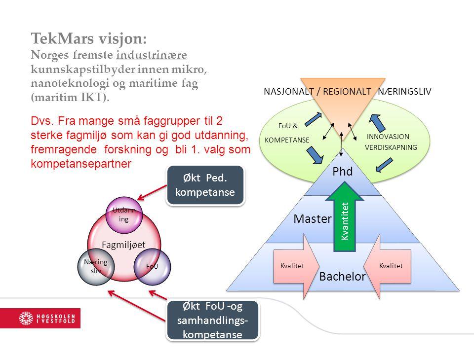 TekMars visjon: Norges fremste industrinære kunnskapstilbyder innen mikro, nanoteknologi og maritime fag (maritim IKT).