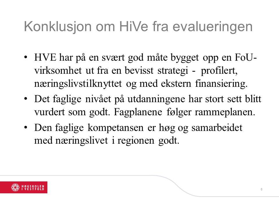 Konklusjon om HiVe fra evalueringen