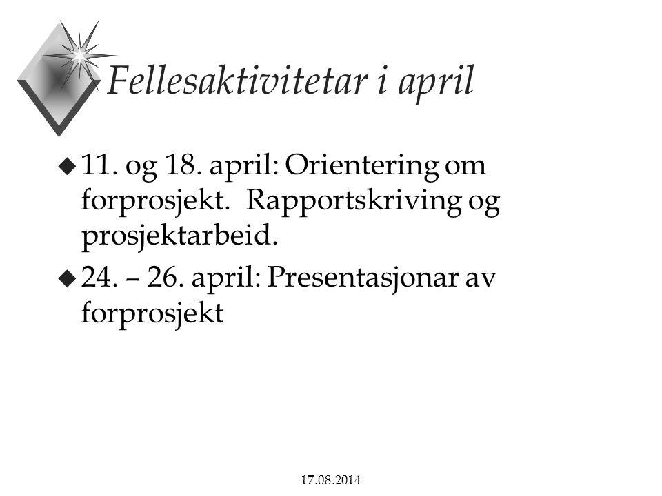 Fellesaktivitetar i april