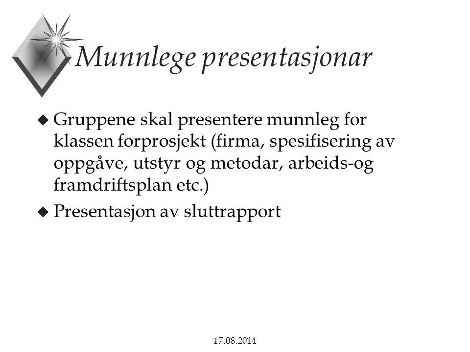 Munnlege presentasjonar