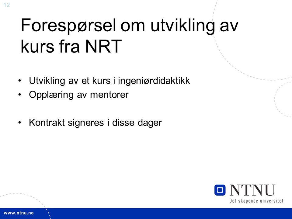 Forespørsel om utvikling av kurs fra NRT