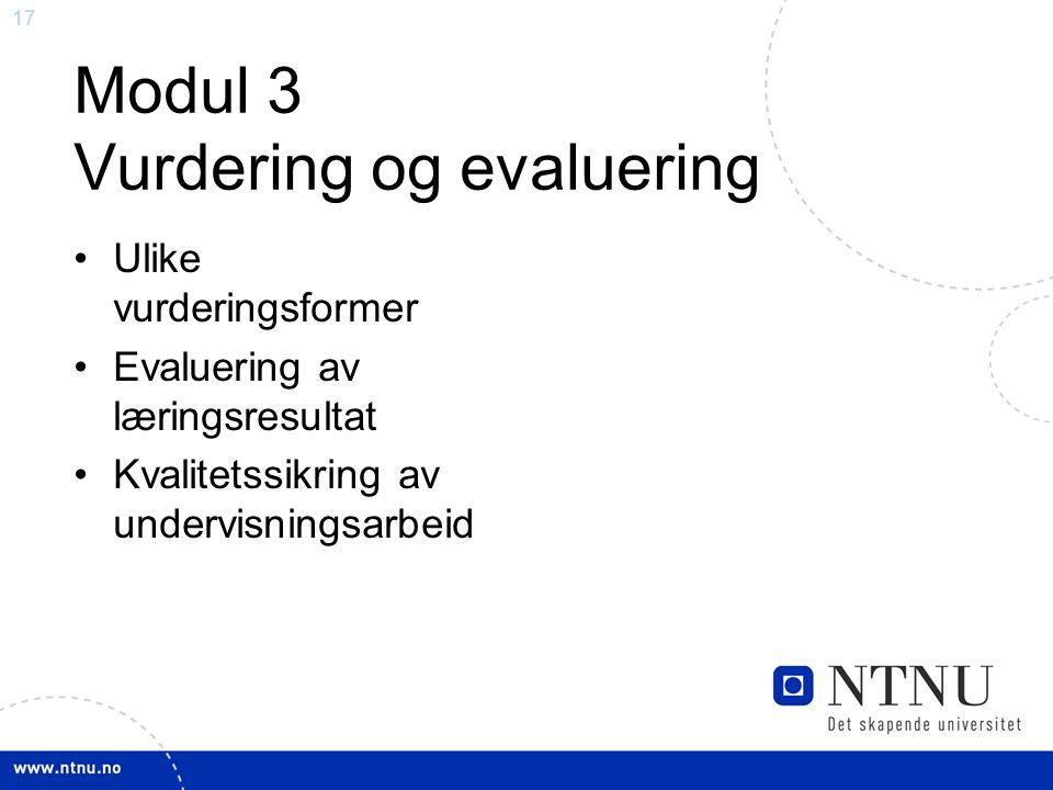 Modul 3 Vurdering og evaluering