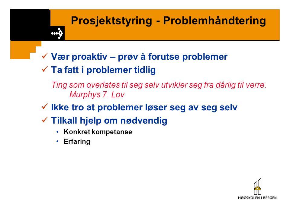 Prosjektstyring - Problemhåndtering