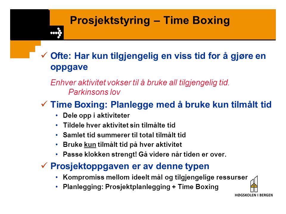 Prosjektstyring – Time Boxing