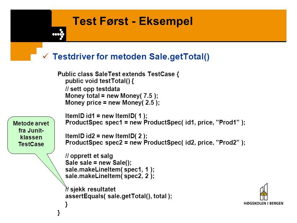 Metode arvet fra Junit-klassen TestCase