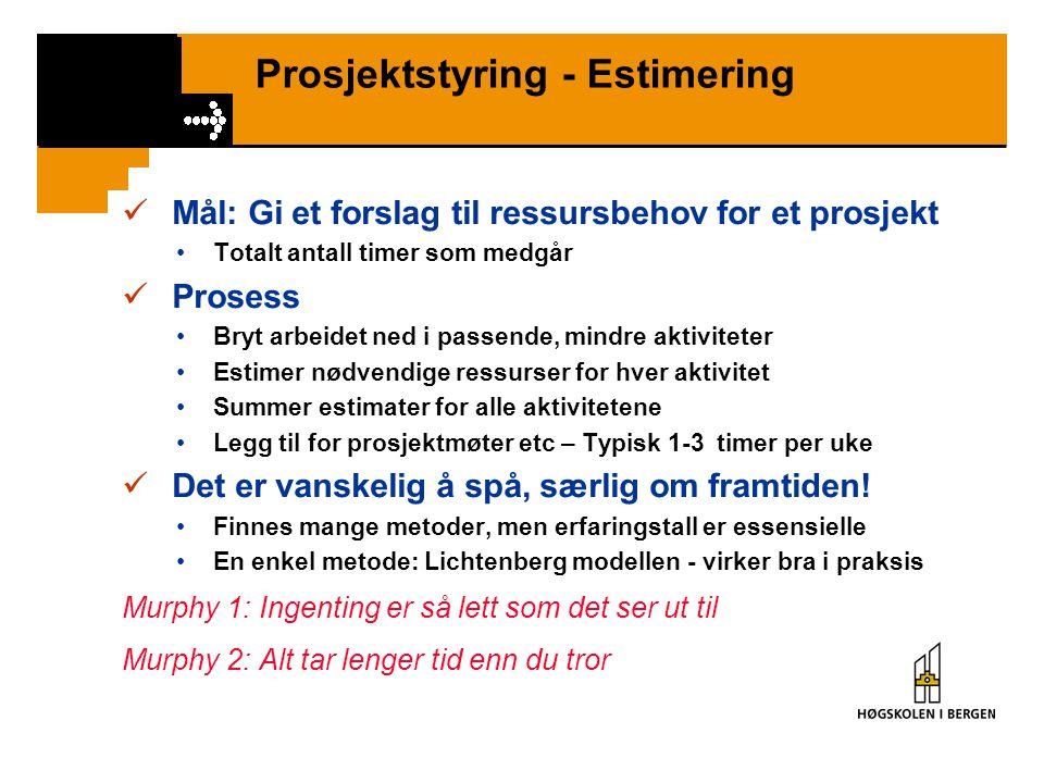 Prosjektstyring - Estimering