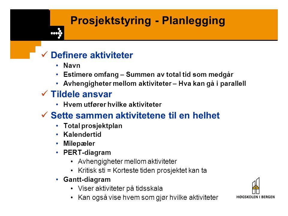 Prosjektstyring - Planlegging