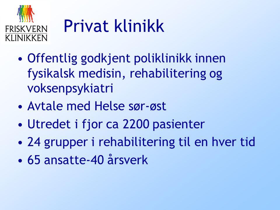 Privat klinikk Offentlig godkjent poliklinikk innen fysikalsk medisin, rehabilitering og voksenpsykiatri.