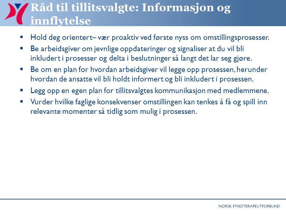 Råd til tillitsvalgte: Informasjon og innflytelse