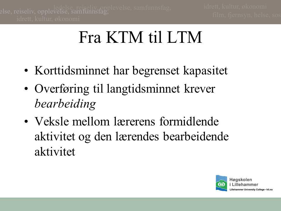 Fra KTM til LTM Korttidsminnet har begrenset kapasitet