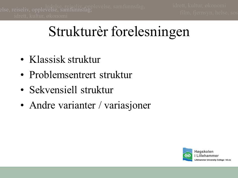 Strukturèr forelesningen